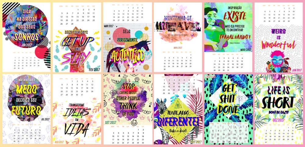 Calendário diferentão para colorir os seus meses em 2017!
